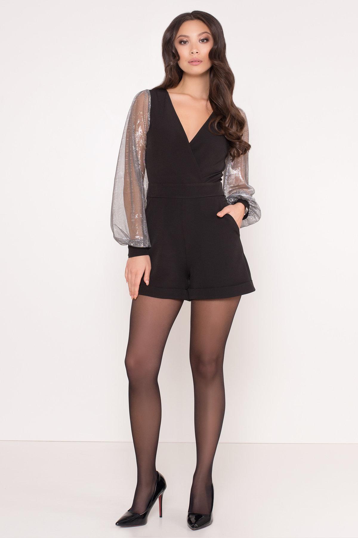 Комбинезон с шортами черного цвета Набель 8566 АРТ. 44881 Цвет: Черный - фото 1, интернет магазин tm-modus.ru