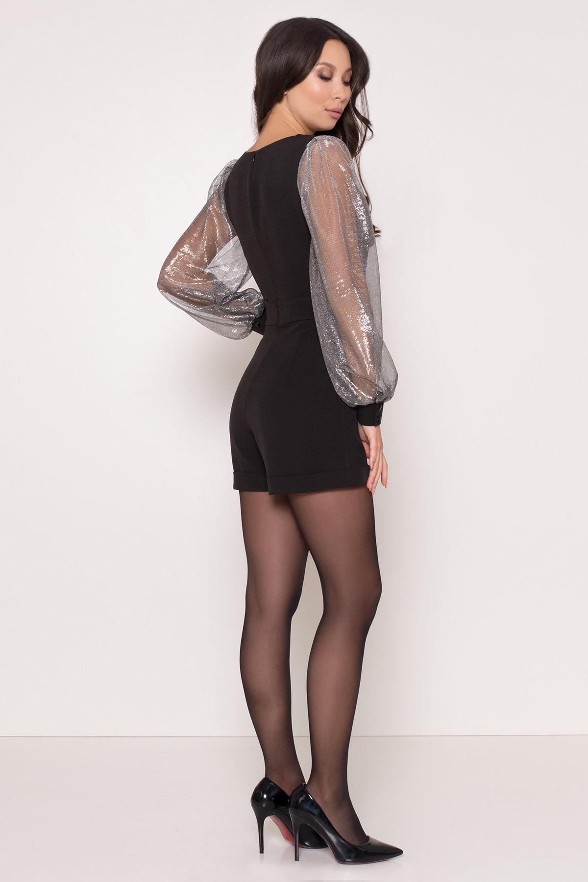 Комбинезон с шортами черного цвета Набель 8566 АРТ. 44881 Цвет: Черный - фото 3, интернет магазин tm-modus.ru