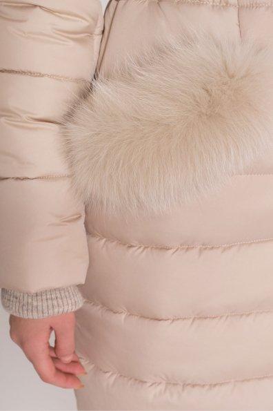 Стильный стеганый пуховик с мехом на карманах Кассия 8410 Цвет: Бежевый Темный