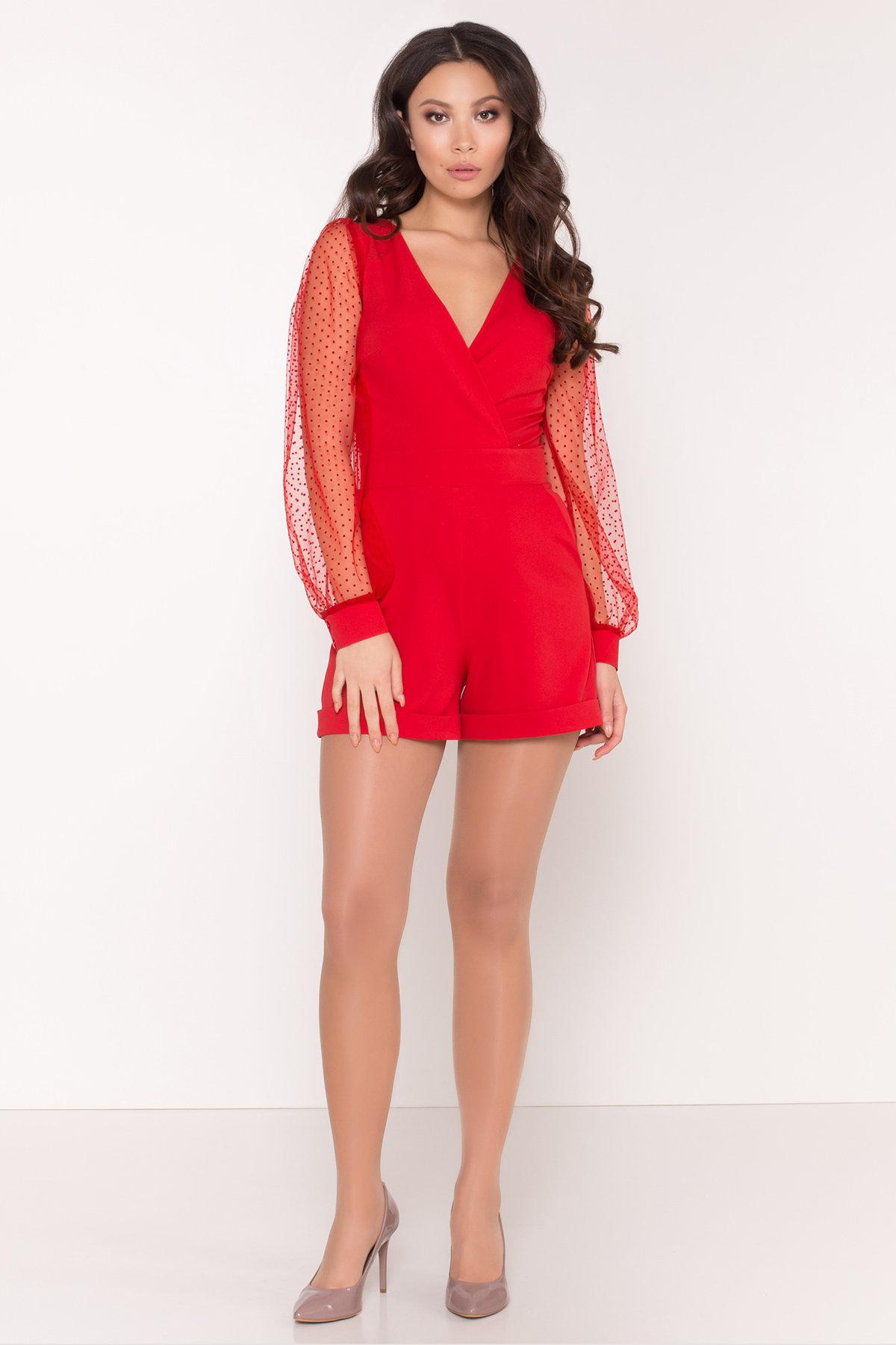 Стильный красный комбинезон с шортами Набель 8565 АРТ. 44880 Цвет: Красный - фото 1, интернет магазин tm-modus.ru