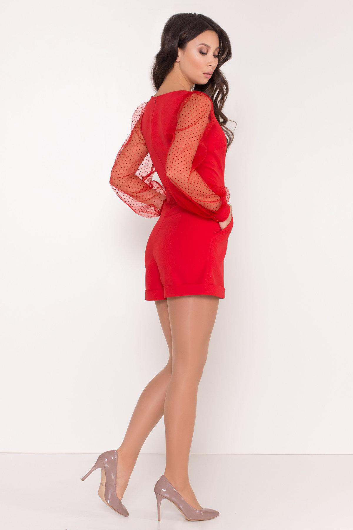 Стильный красный комбинезон с шортами Набель 8565 АРТ. 44880 Цвет: Красный - фото 3, интернет магазин tm-modus.ru