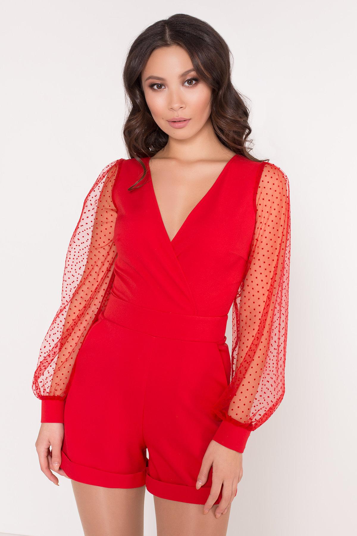 Стильный красный комбинезон с шортами Набель 8565 АРТ. 44880 Цвет: Красный - фото 5, интернет магазин tm-modus.ru