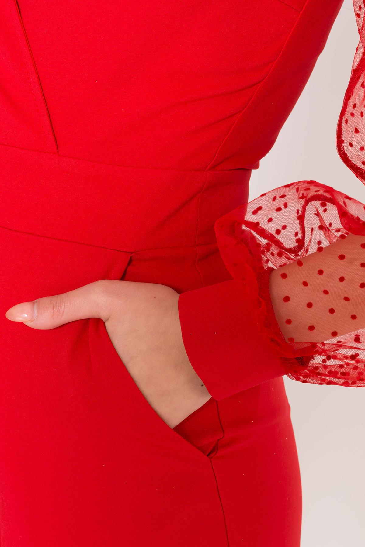Стильный красный комбинезон с шортами Набель 8565 АРТ. 44880 Цвет: Красный - фото 7, интернет магазин tm-modus.ru