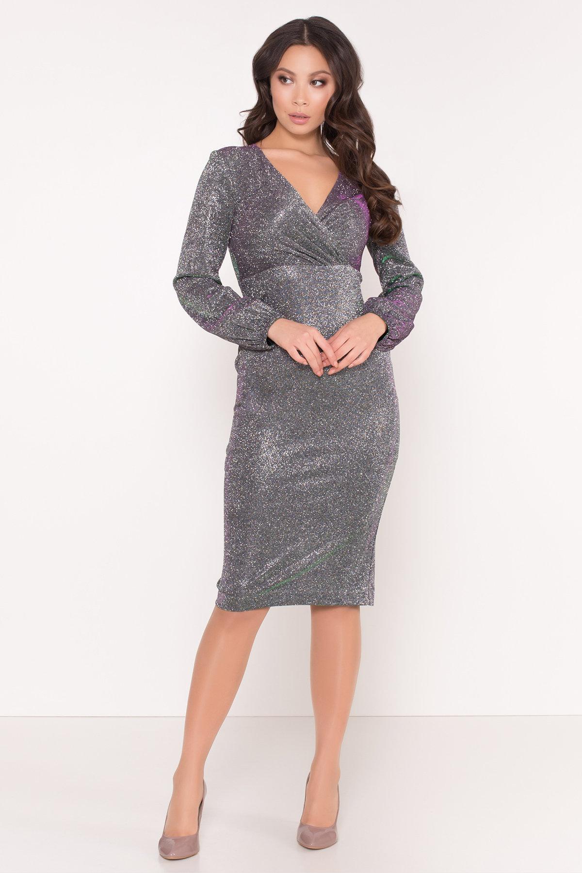 Нарядное платье с люрексом Фаселис 8527 АРТ. 44893 Цвет: Серебро/изумруд/розовый - фото 2, интернет магазин tm-modus.ru