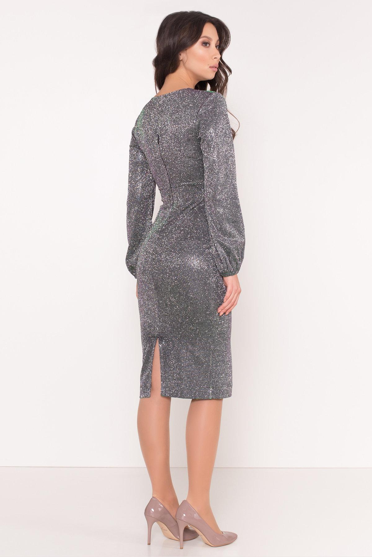 Нарядное платье с люрексом Фаселис 8527 АРТ. 44893 Цвет: Серебро/изумруд/розовый - фото 4, интернет магазин tm-modus.ru