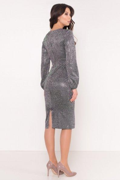 Нарядное платье с люрексом Фаселис 8527 Цвет: Серебро/изумруд/розовый