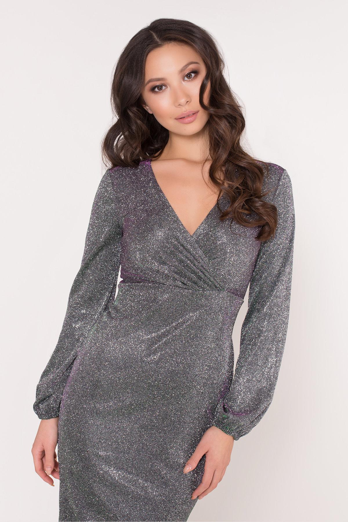Нарядное платье с люрексом Фаселис 8527 АРТ. 44893 Цвет: Серебро/изумруд/розовый - фото 6, интернет магазин tm-modus.ru