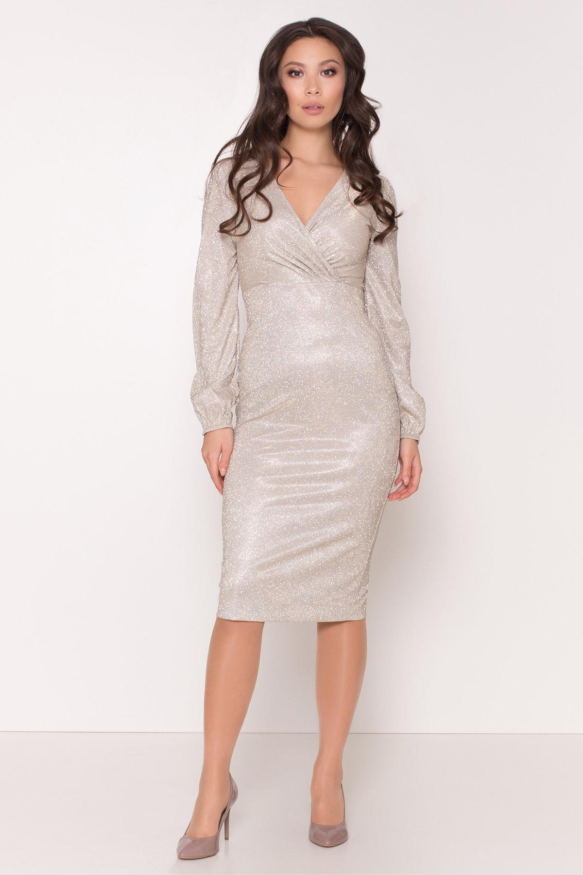 Нарядное платье с люрексом Фаселис 8527 АРТ. 44895 Цвет: Серебро/золото - фото 3, интернет магазин tm-modus.ru