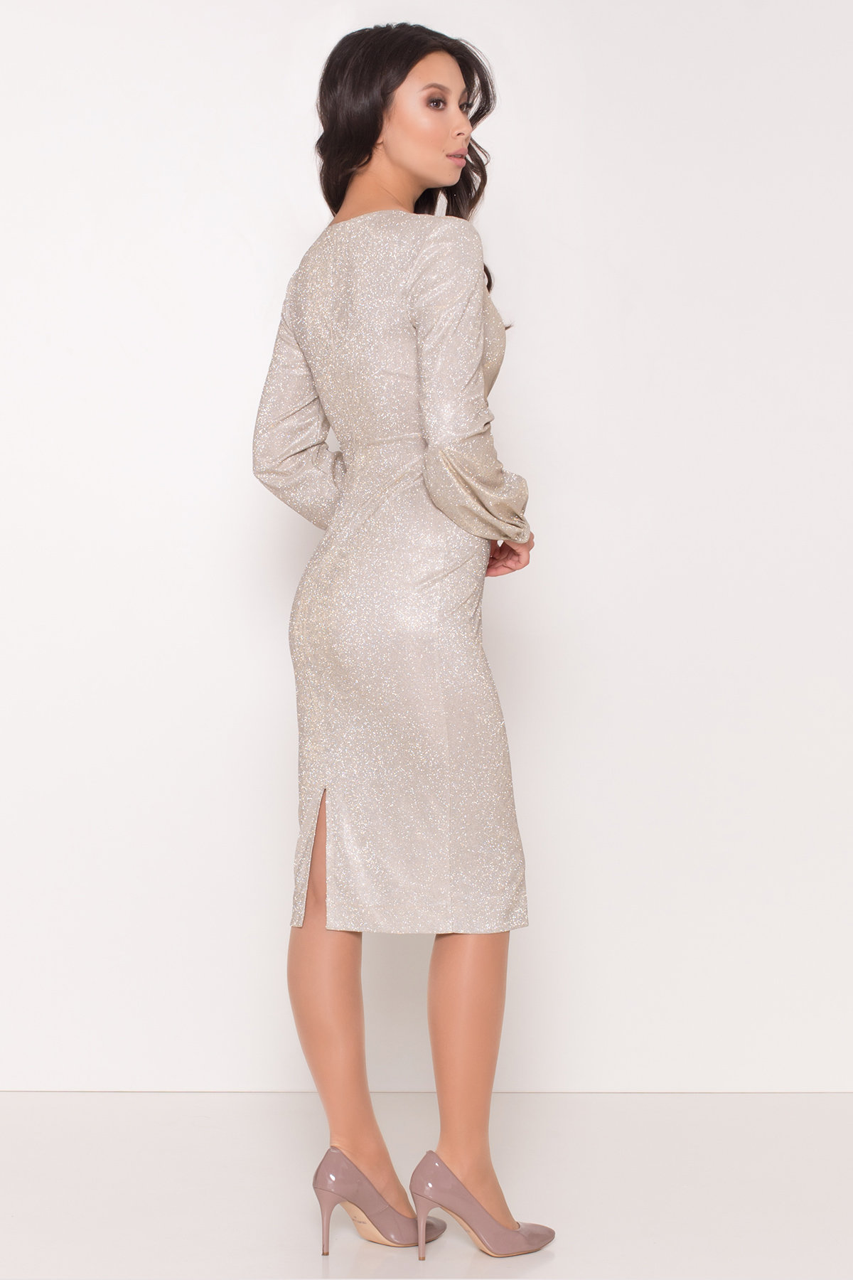 Нарядное платье с люрексом Фаселис 8527 АРТ. 44895 Цвет: Серебро/золото - фото 5, интернет магазин tm-modus.ru