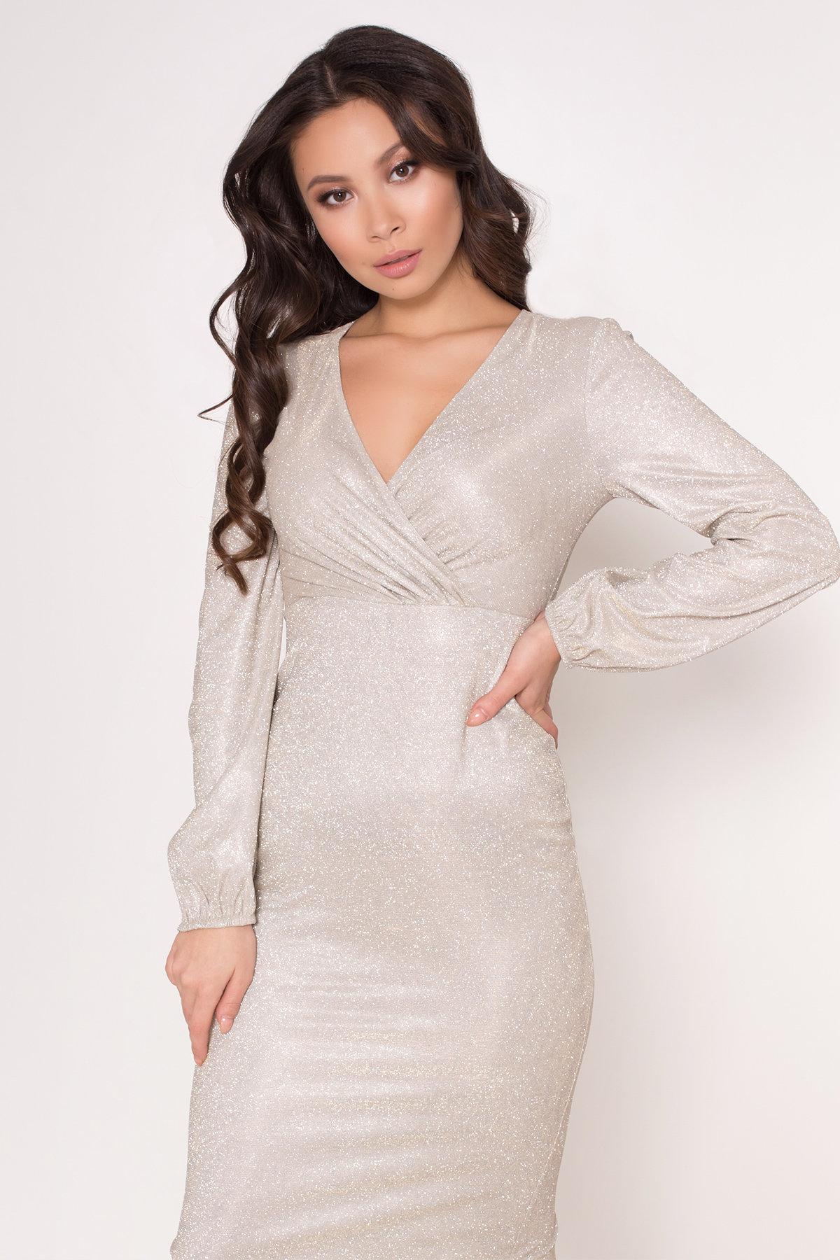Нарядное платье с люрексом Фаселис 8527 АРТ. 44895 Цвет: Серебро/золото - фото 7, интернет магазин tm-modus.ru