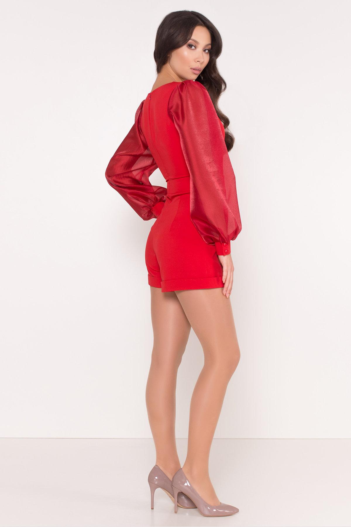 Комбинезон с шортами и широкими рукавами Набель 8506 Цвет: Красный