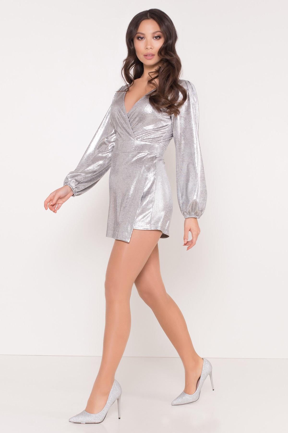 Комбинезон с шортами цвета металлик Шелли 8553 АРТ. 44892 Цвет: Серый/серебро - фото 1, интернет магазин tm-modus.ru