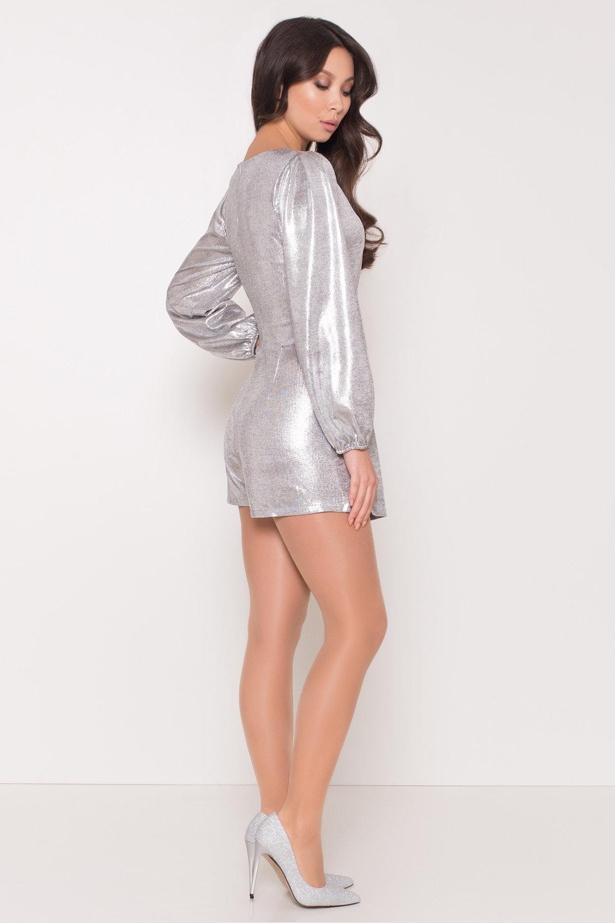 Комбинезон с шортами цвета металлик Шелли 8553 АРТ. 44892 Цвет: Серый/серебро - фото 3, интернет магазин tm-modus.ru