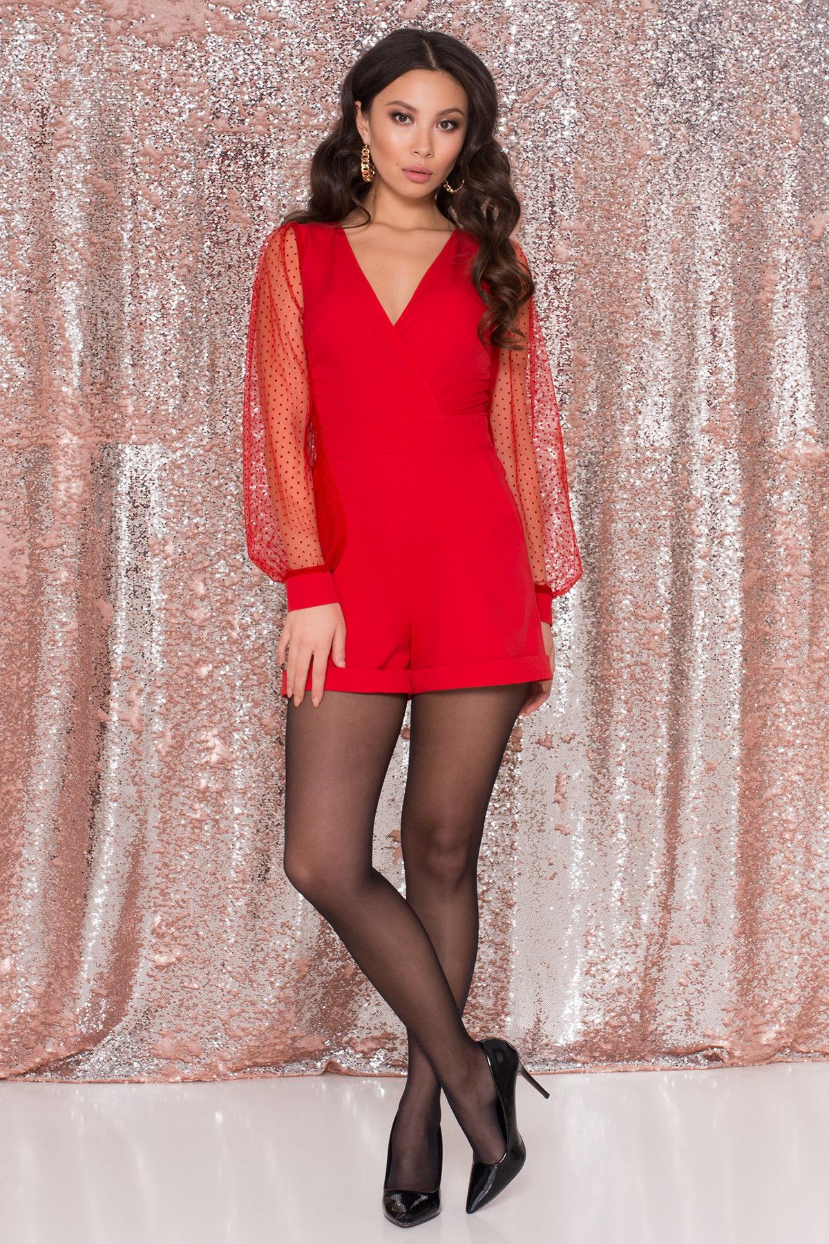 Купить комбинезон женский модный Стильный красный комбинезон с шортами Набель 8565