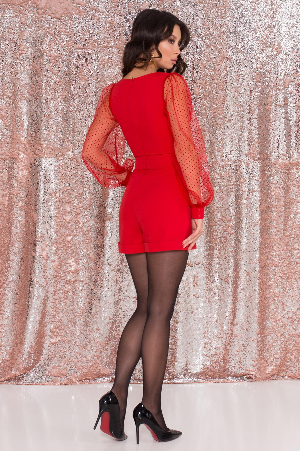 Стильный красный комбинезон с шортами Набель 8565 АРТ. 44880 Цвет: Красный - фото 6, интернет магазин tm-modus.ru