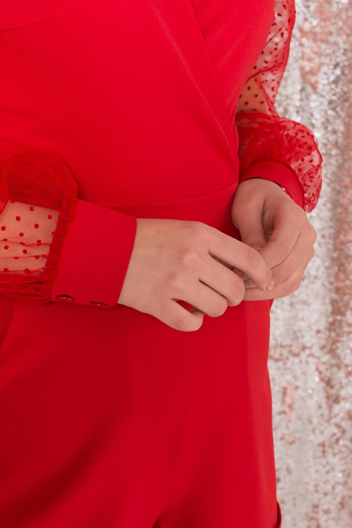 Стильный красный комбинезон с шортами Набель 8565 АРТ. 44880 Цвет: Красный - фото 8, интернет магазин tm-modus.ru