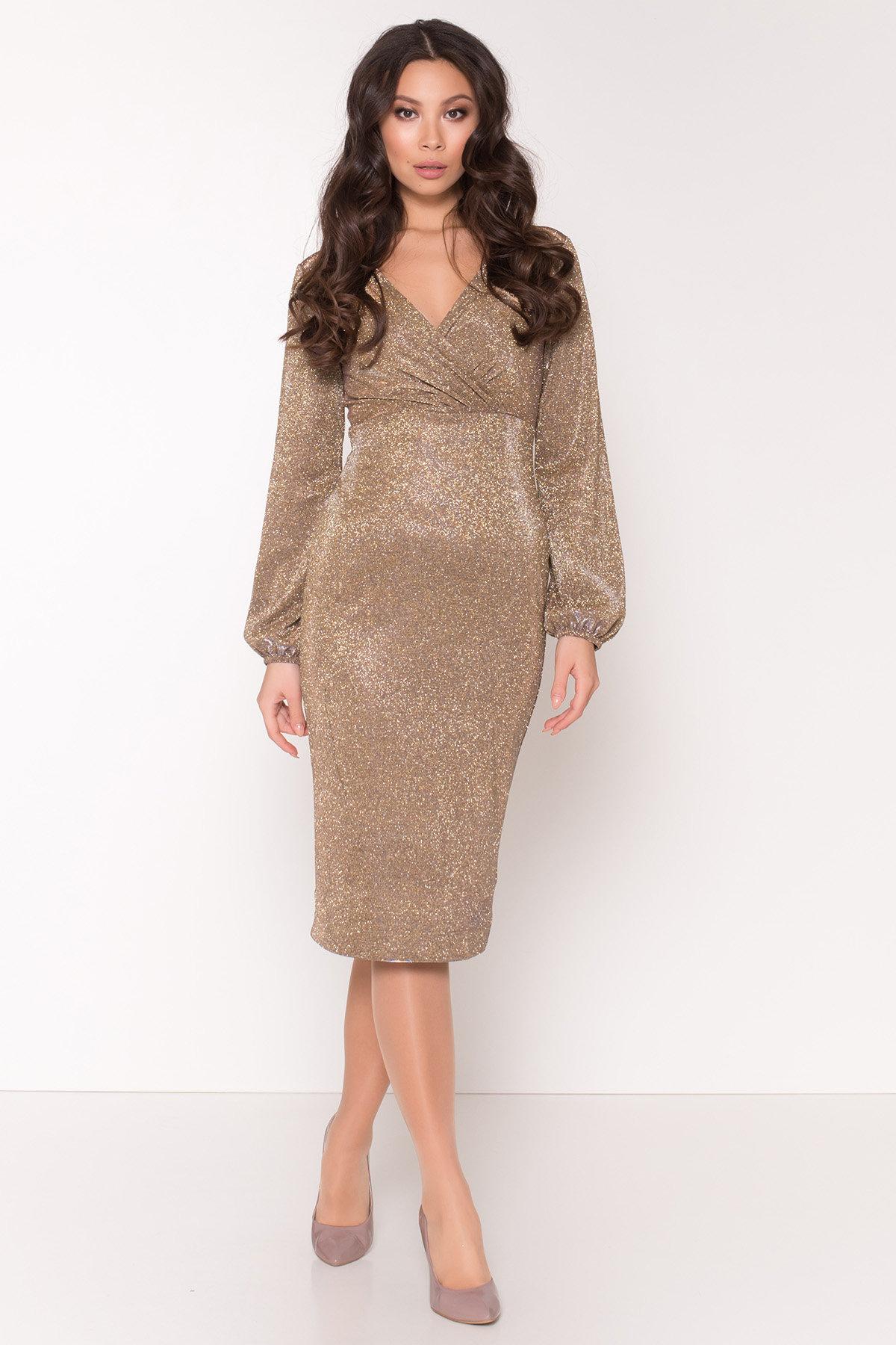 Нарядное платье с люрексом Фаселис 8527 АРТ. 44894 Цвет: Золото/серебро - фото 2, интернет магазин tm-modus.ru