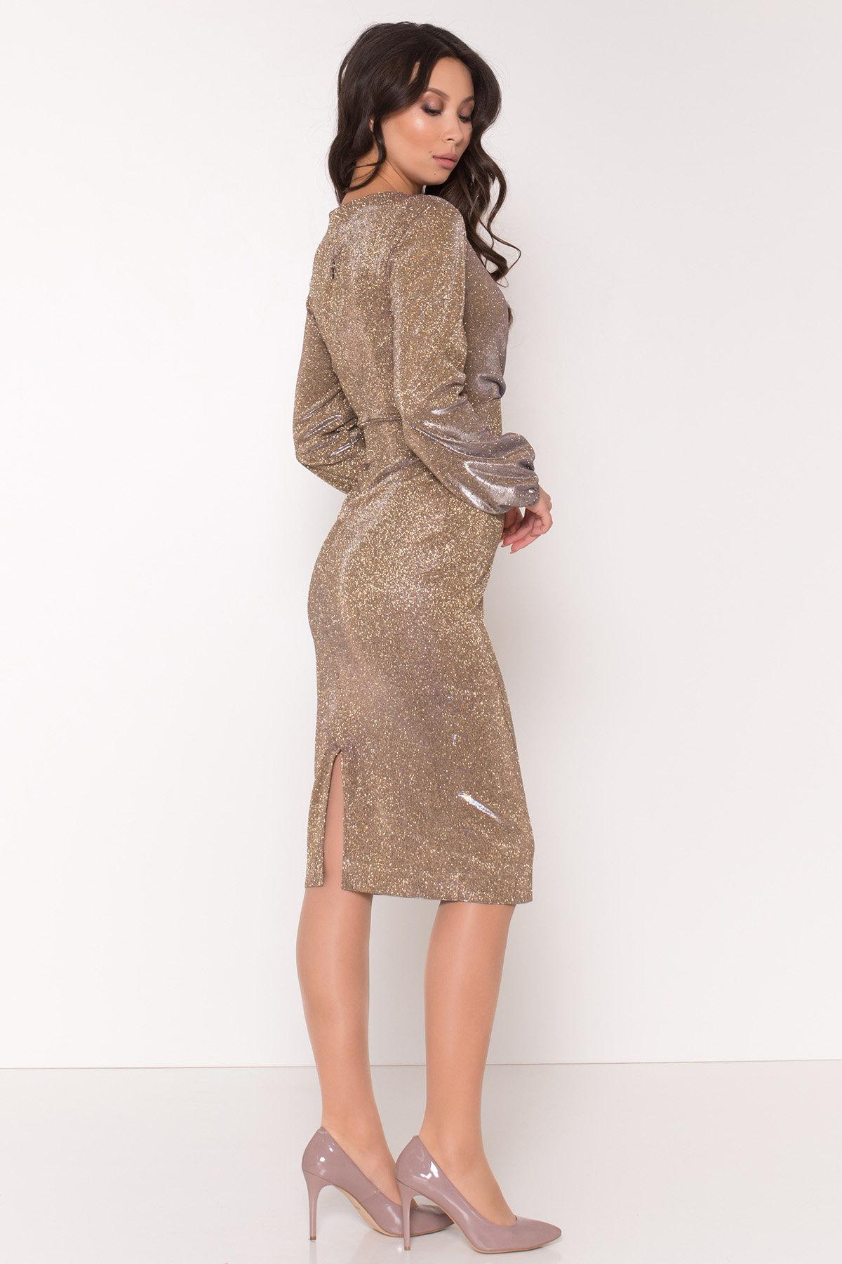 Нарядное платье с люрексом Фаселис 8527 АРТ. 44894 Цвет: Золото/серебро - фото 4, интернет магазин tm-modus.ru