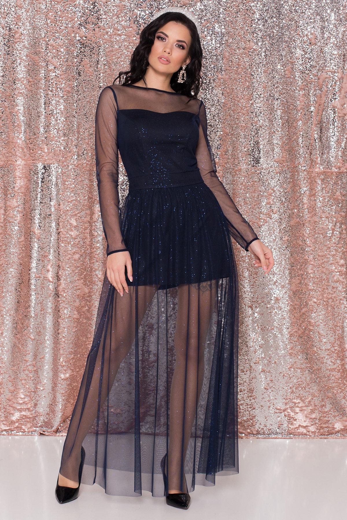 Платье-комбинезон Астия 8556 АРТ. 44951 Цвет: Черный/т.синий/электрик - фото 1, интернет магазин tm-modus.ru