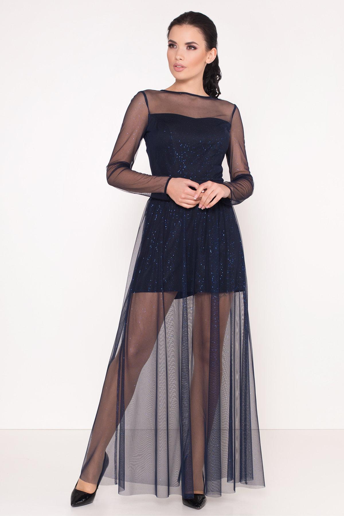 Платье-комбинезон Астия 8556 АРТ. 44951 Цвет: Черный/т.синий/электрик - фото 2, интернет магазин tm-modus.ru