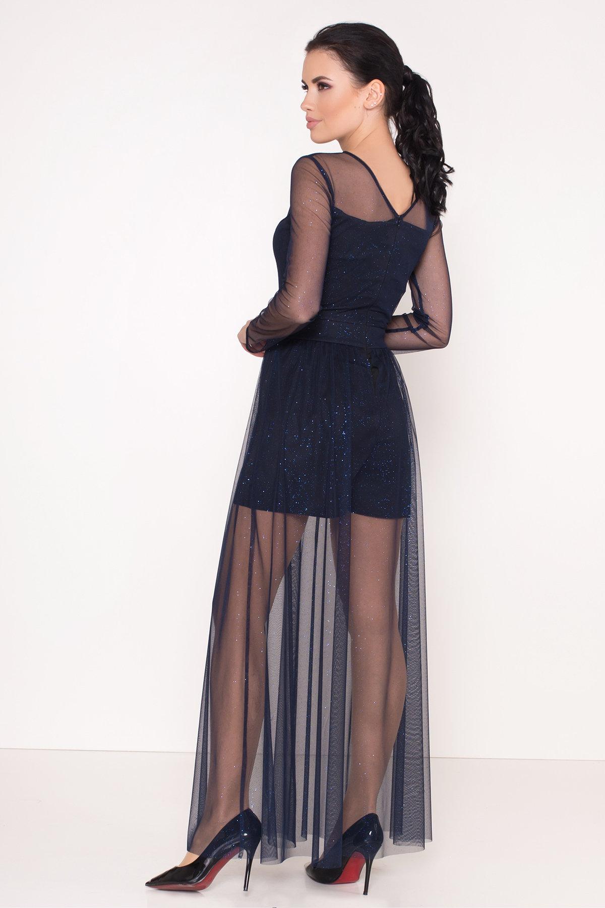 Платье-комбинезон Астия 8556 АРТ. 44951 Цвет: Черный/т.синий/электрик - фото 4, интернет магазин tm-modus.ru