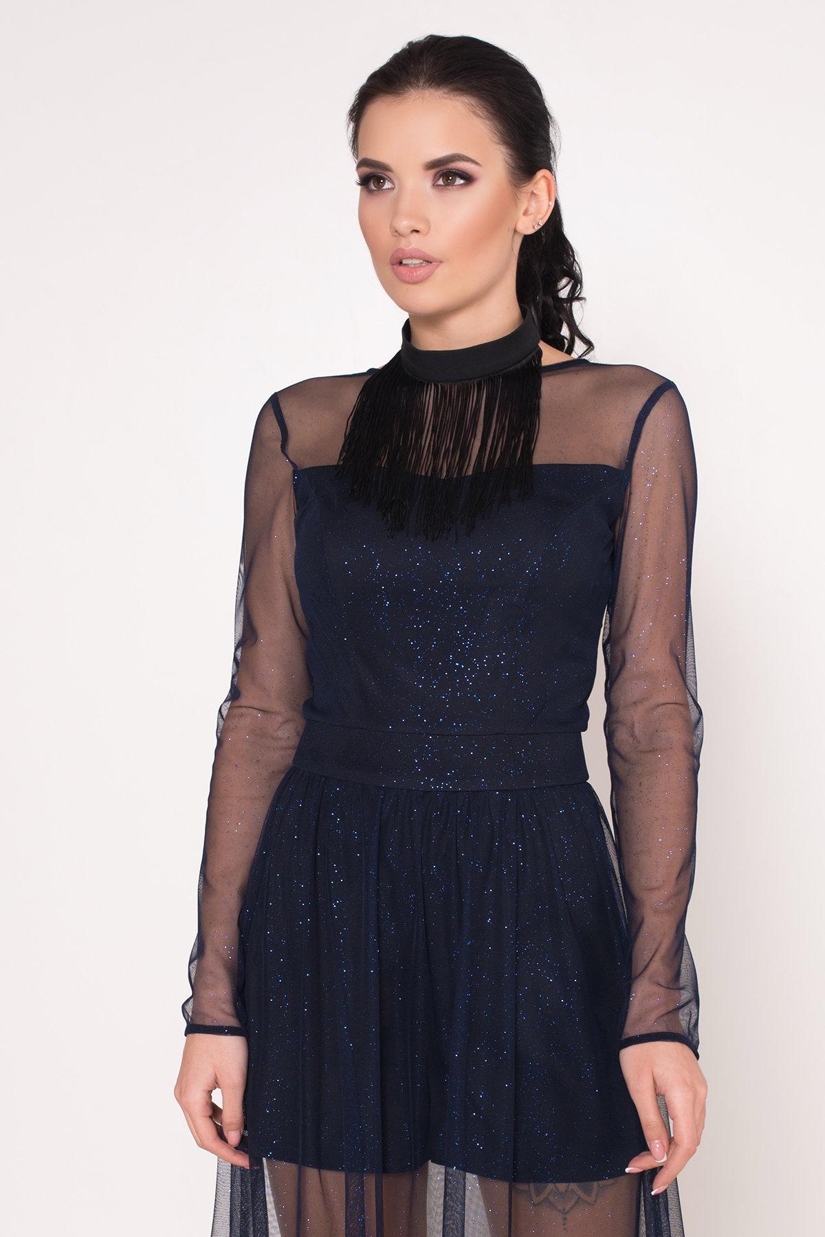 Платье-комбинезон Астия 8556 АРТ. 44951 Цвет: Черный/т.синий/электрик - фото 8, интернет магазин tm-modus.ru