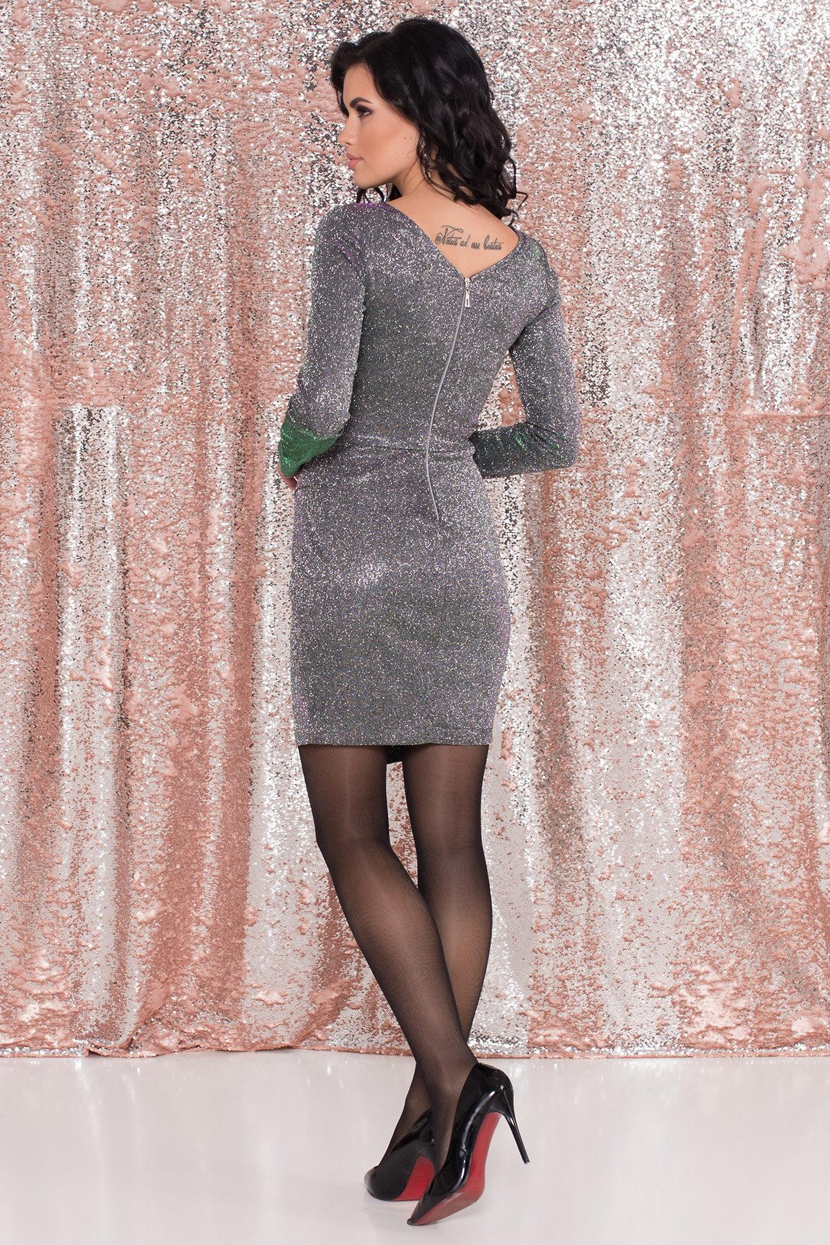 Коктейльное платье Кристал 8346 АРТ. 44902 Цвет: Серебро/изумруд/розовый - фото 4, интернет магазин tm-modus.ru