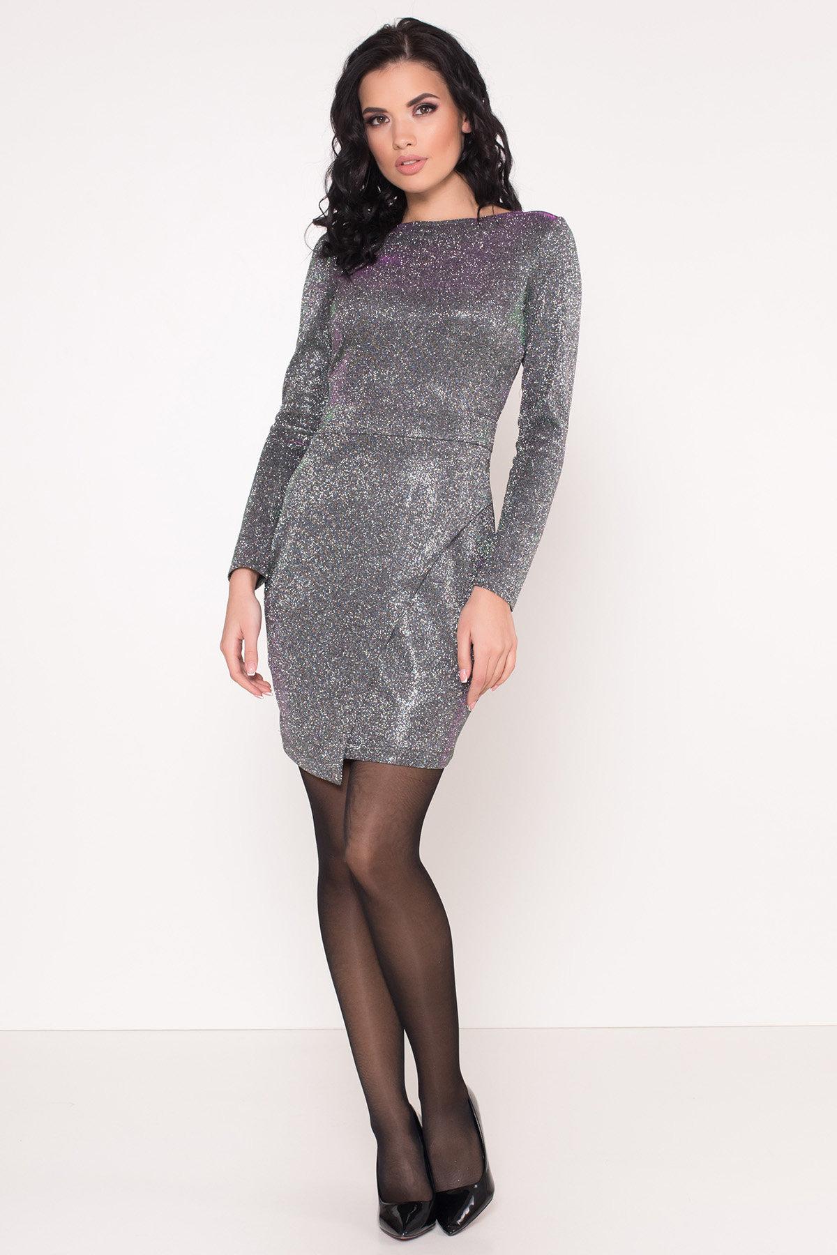 Коктейльное платье Кристал 8346 АРТ. 44902 Цвет: Серебро/изумруд/розовый - фото 1, интернет магазин tm-modus.ru