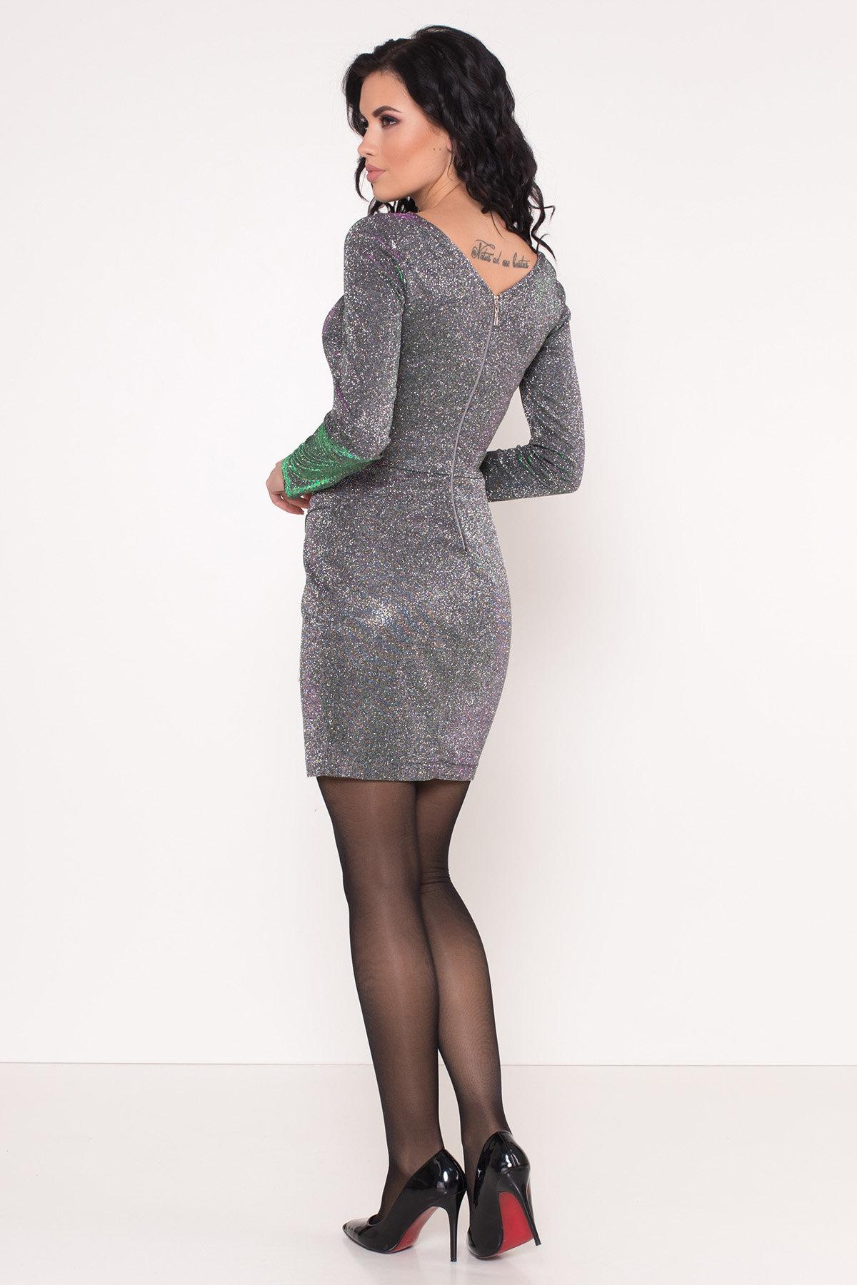 Коктейльное платье Кристал 8346 АРТ. 44902 Цвет: Серебро/изумруд/розовый - фото 3, интернет магазин tm-modus.ru