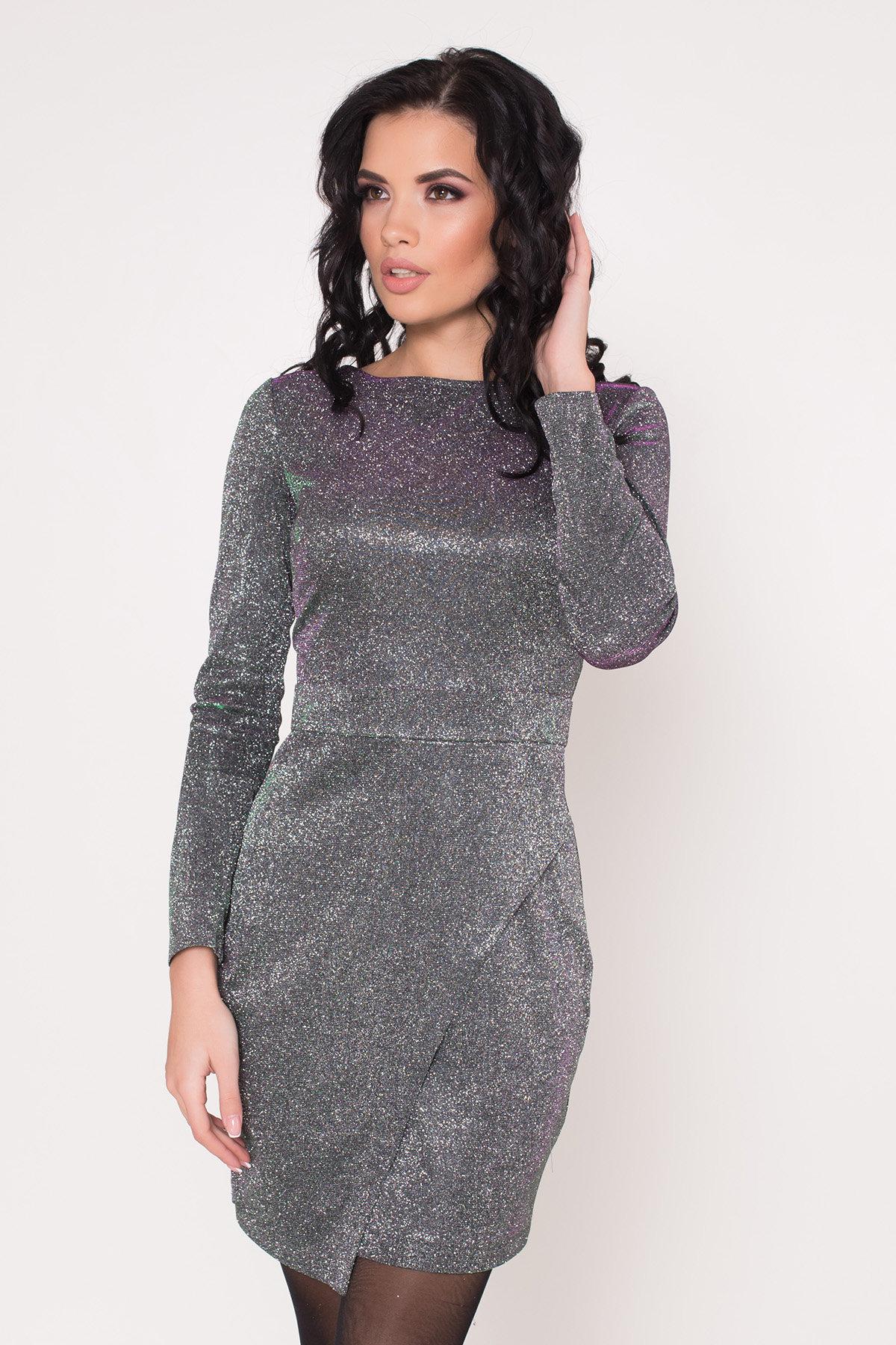 Коктейльное платье Кристал 8346 АРТ. 44902 Цвет: Серебро/изумруд/розовый - фото 5, интернет магазин tm-modus.ru