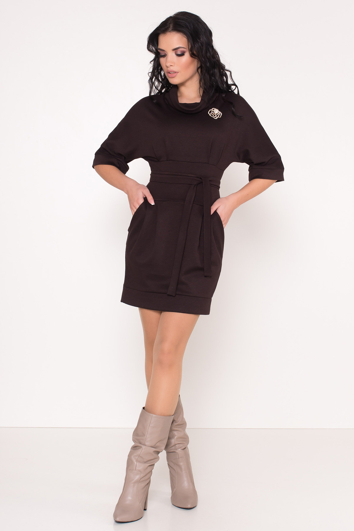 Трикотажное платье Вассаби 8478 АРТ. 44906 Цвет: Шоколад - фото 1, интернет магазин tm-modus.ru