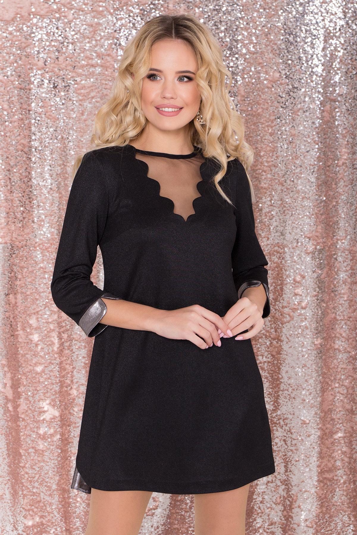 Платье трапеция с оригинальным кроем по спинке Анжелина 8661 АРТ. 44980 Цвет: Черный/серебро - фото 3, интернет магазин tm-modus.ru