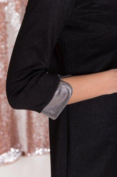 Платье трапеция с оригинальным кроем по спинке Анжелина 8661 Цвет: Черный/серебро