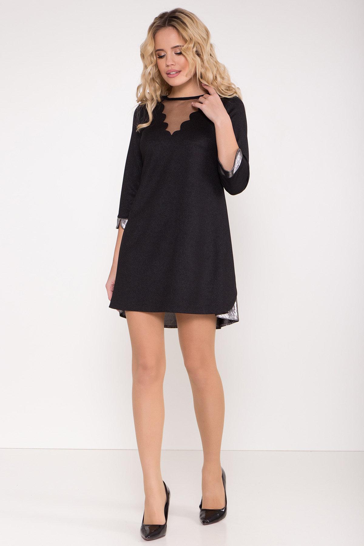 Платье трапеция с оригинальным кроем по спинке Анжелина 8661 АРТ. 44980 Цвет: Черный/серебро - фото 2, интернет магазин tm-modus.ru