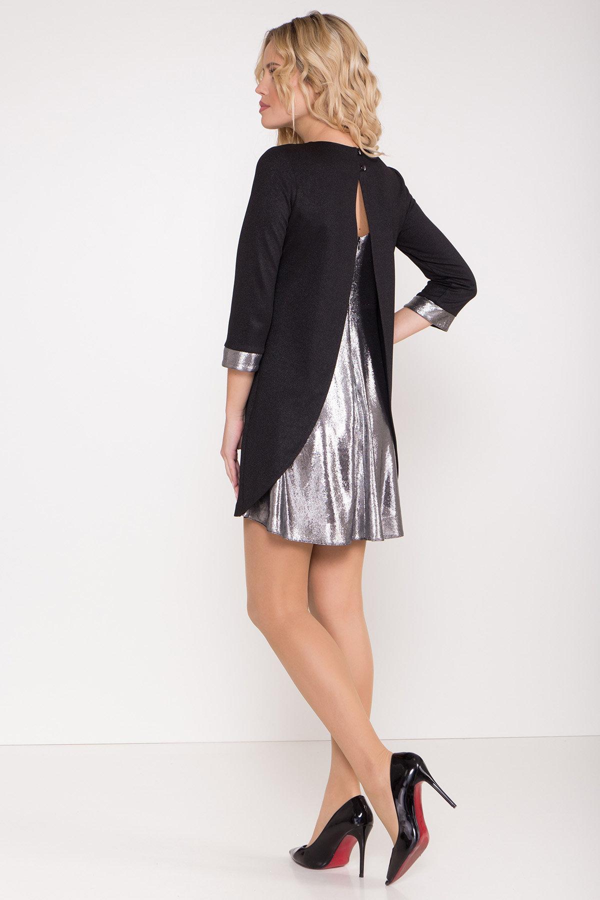 Платье трапеция с оригинальным кроем по спинке Анжелина 8661 АРТ. 44980 Цвет: Черный/серебро - фото 4, интернет магазин tm-modus.ru