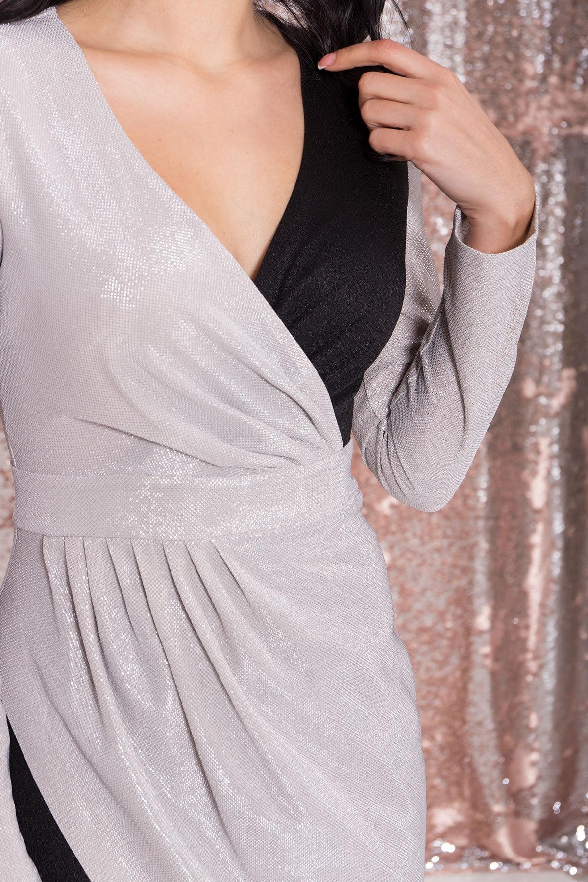 Контрастное двухцветное платье Блеск 8670 АРТ. 44988 Цвет: Серебро/черный - фото 6, интернет магазин tm-modus.ru