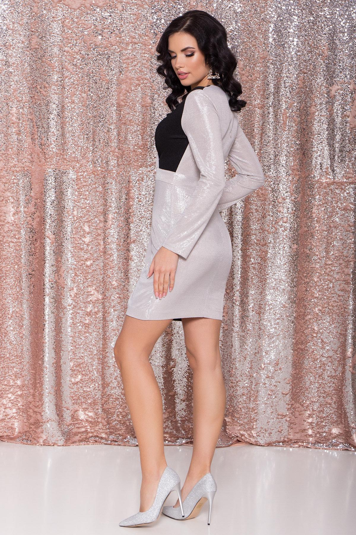 Контрастное двухцветное платье Блеск 8670 АРТ. 44988 Цвет: Серебро/черный - фото 7, интернет магазин tm-modus.ru