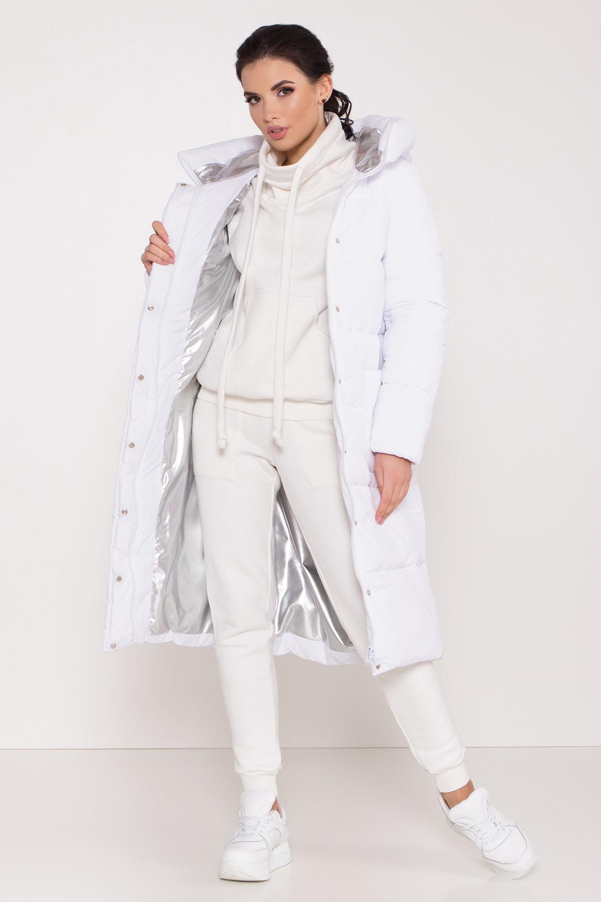 Удлиненный пуховик с накладными карманами Бланка 8622 АРТ. 44960 Цвет: Белый - фото 1, интернет магазин tm-modus.ru