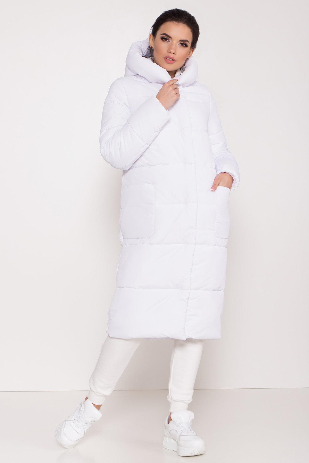 Удлиненный пуховик с накладными карманами Бланка 8622 АРТ. 44960 Цвет: Белый - фото 2, интернет магазин tm-modus.ru