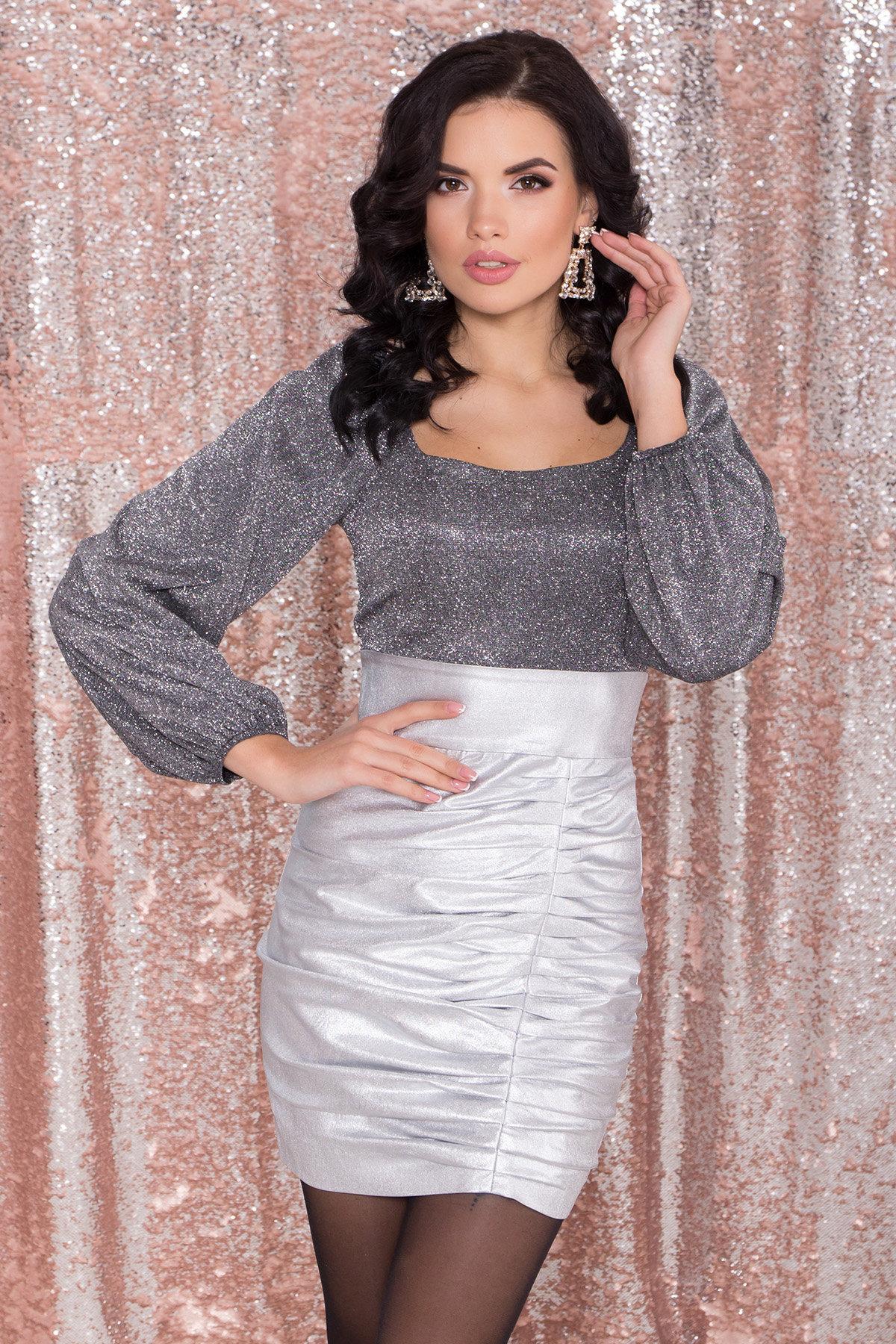 Платье с драпировкой Линси 8534 АРТ. 44973 Цвет: Серебро 2 - фото 4, интернет магазин tm-modus.ru