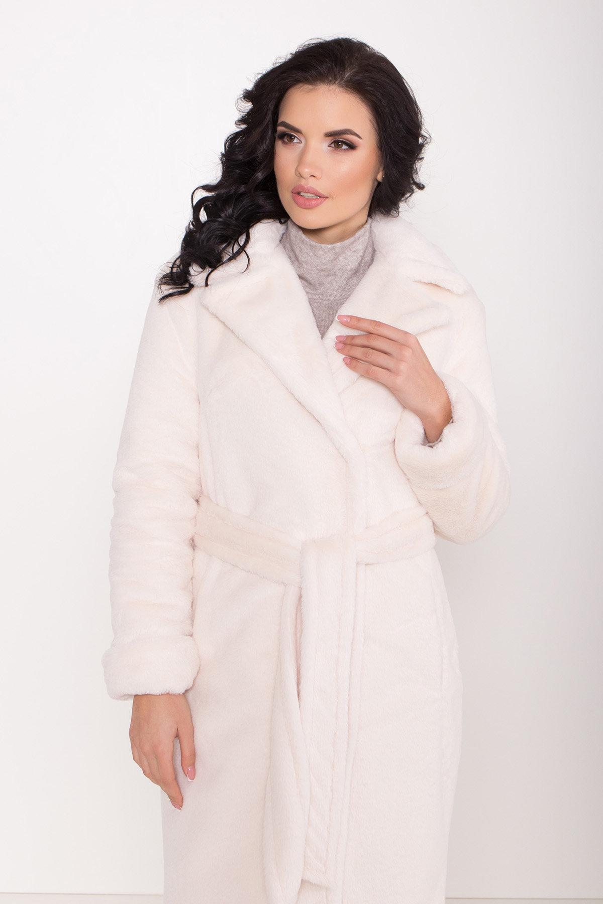Зимнее пальто из искусственного меха норки Саманта 8641 АРТ. 44957 Цвет: Молоко - фото 14, интернет магазин tm-modus.ru