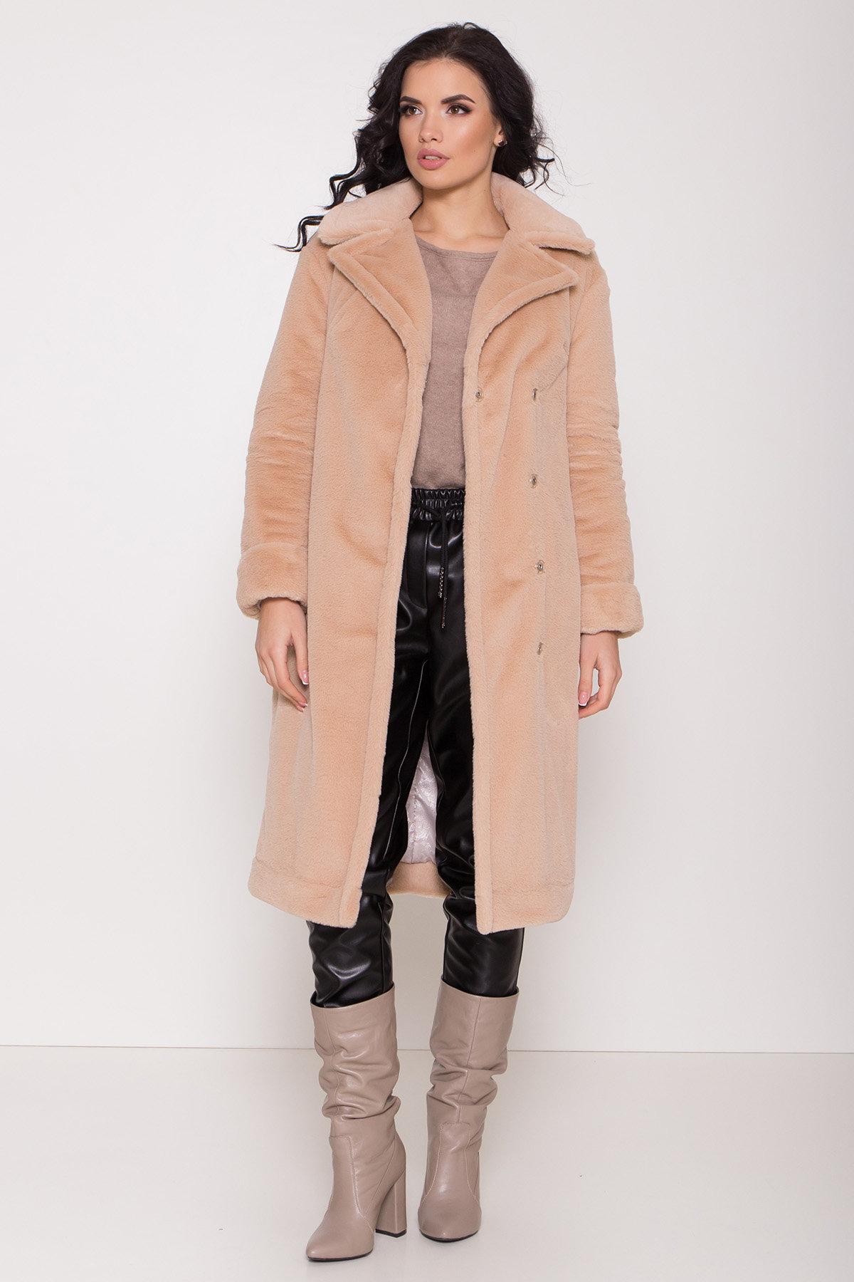 Зимнее пальто из искусственного меха норки Саманта 8641 АРТ. 44956 Цвет: Бежевый - фото 2, интернет магазин tm-modus.ru