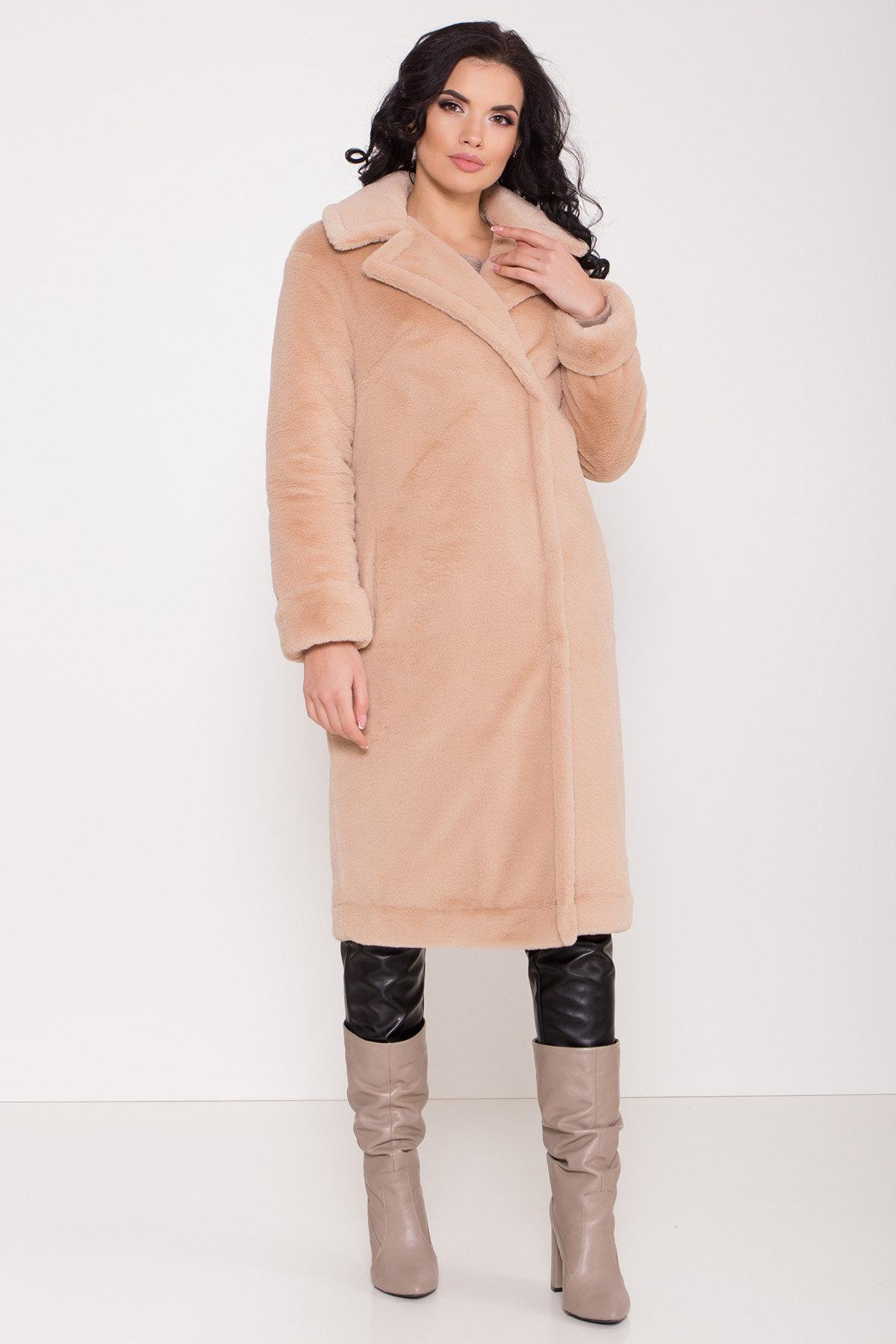 Зимнее пальто из искусственного меха норки Саманта 8641 АРТ. 44956 Цвет: Бежевый - фото 3, интернет магазин tm-modus.ru
