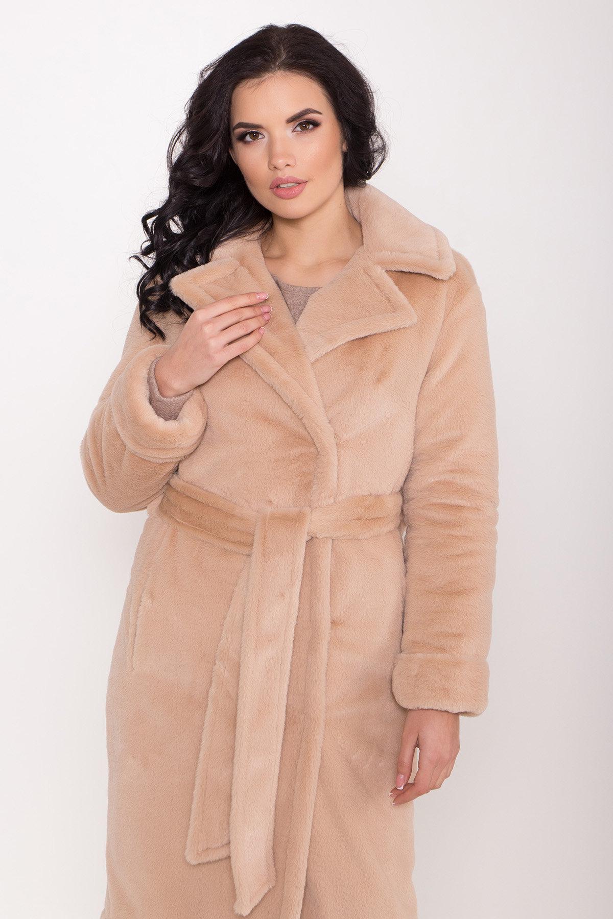 Зимнее пальто из искусственного меха норки Саманта 8641 АРТ. 44956 Цвет: Бежевый - фото 5, интернет магазин tm-modus.ru