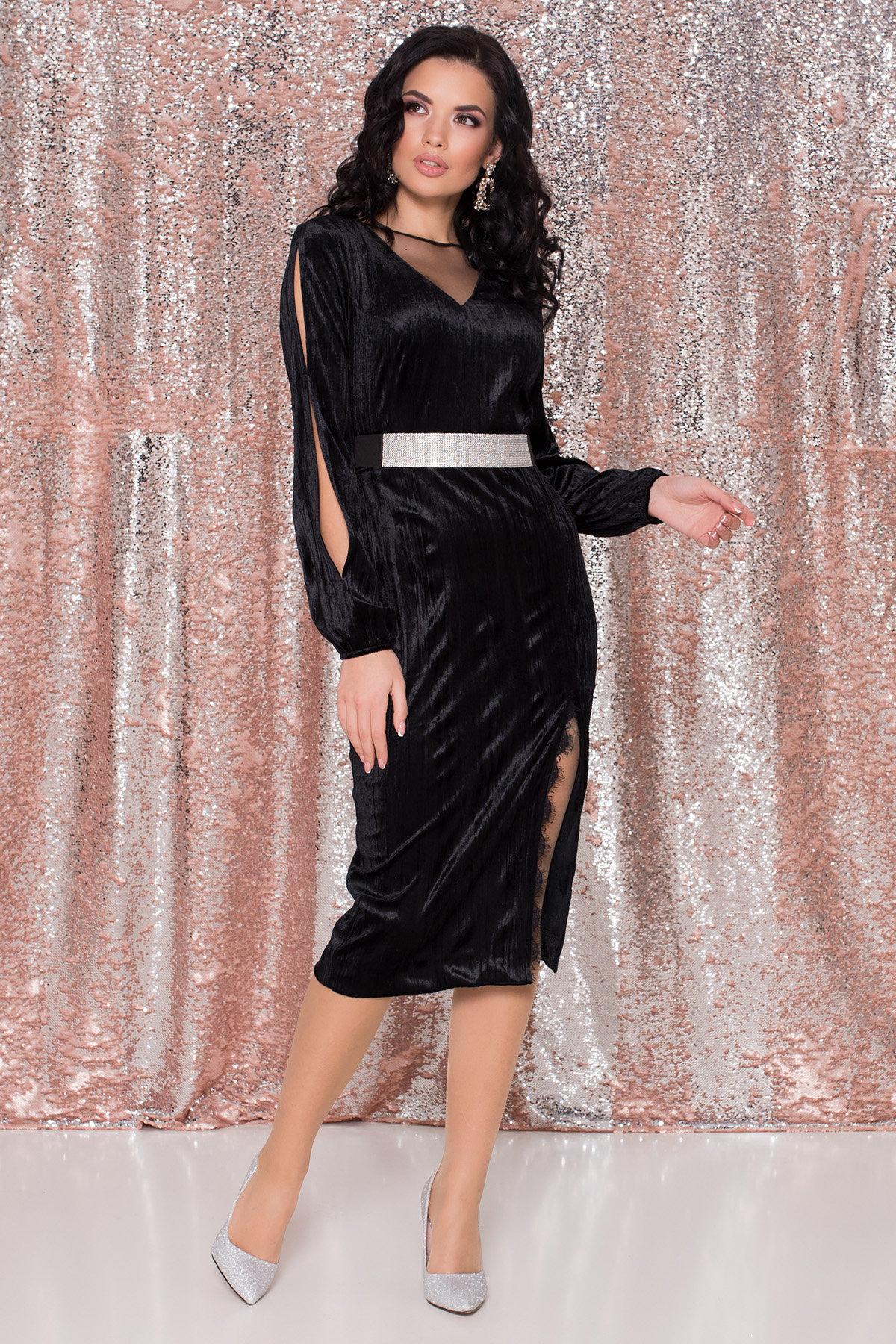Купить платья оптом в Украине от Modus Велюровое платье-миди длины Блек 8652