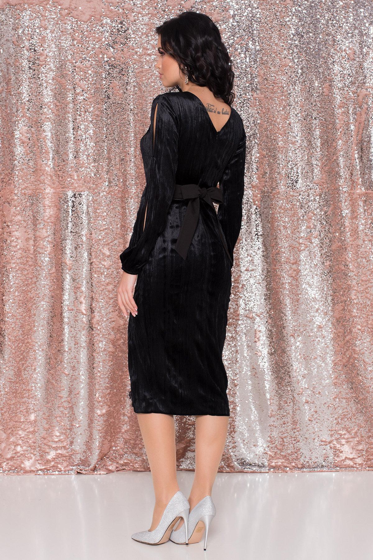Велюровое платье-миди длины Блек 8652 АРТ. 44974 Цвет: Черный - фото 5, интернет магазин tm-modus.ru