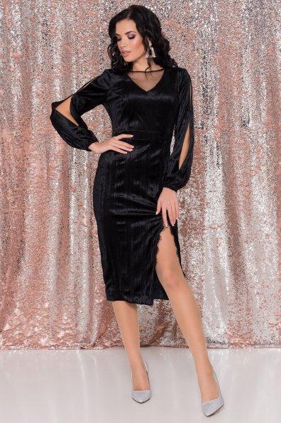 Велюровое платье-миди длины Блек 8652 Цвет: Черный