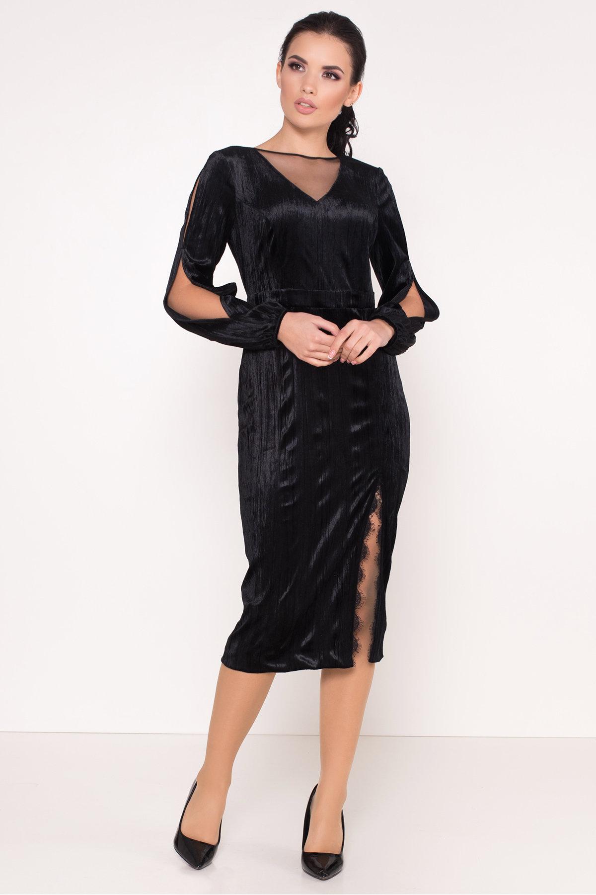 Велюровое платье-миди длины Блек 8652 АРТ. 44974 Цвет: Черный - фото 2, интернет магазин tm-modus.ru