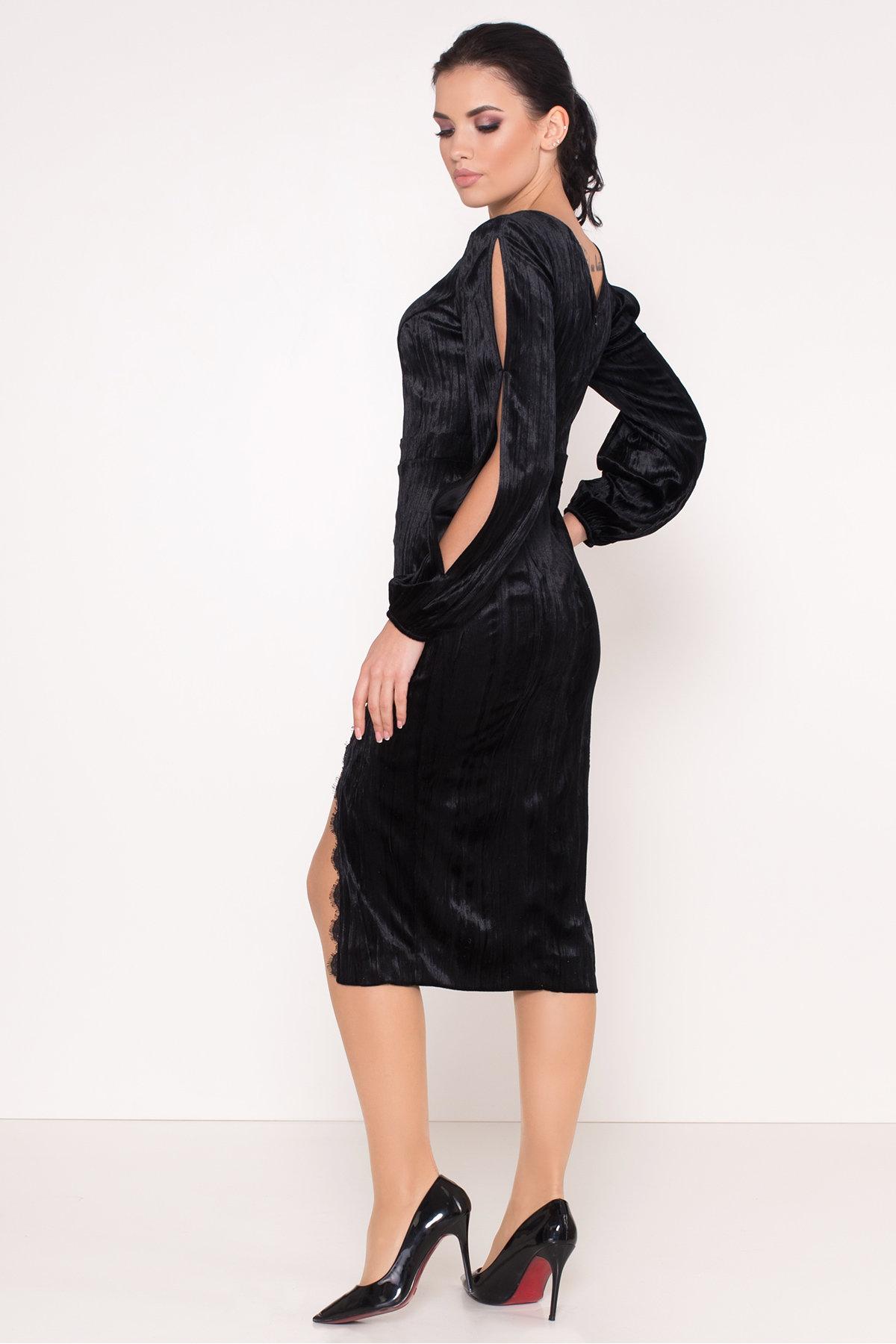 Велюровое платье-миди длины Блек 8652 АРТ. 44974 Цвет: Черный - фото 4, интернет магазин tm-modus.ru