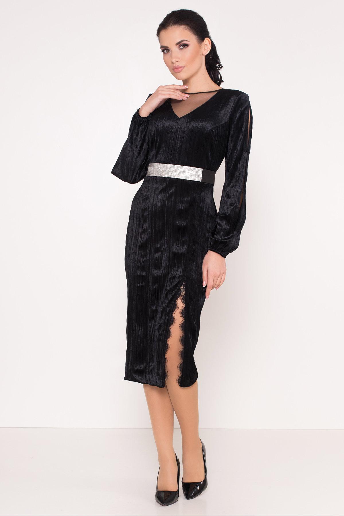 Велюровое платье-миди длины Блек 8652 АРТ. 44974 Цвет: Черный - фото 6, интернет магазин tm-modus.ru